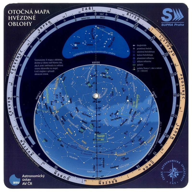 MAPA SUPRA PRAHA OTOČNÁ OBLOHY 23.5x23.5cm MĚSÍC & LUNACE (Rükl)