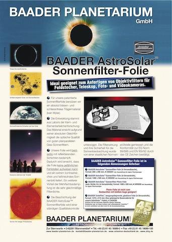 FILTR BAADER FOLIE A4 ASTRO SOLAR ND 5.0 VIZUAL (SLUNEČNÍ)