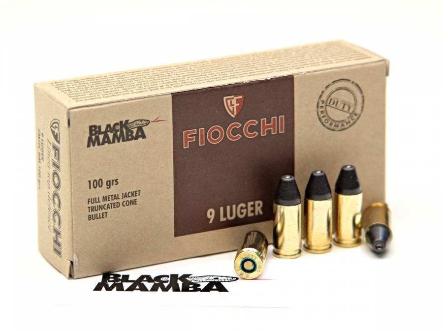 NÁBOJ FIOCCHI 9 LUGER FMJTC BM 6.5g/100 grs. BLACK MAMBA