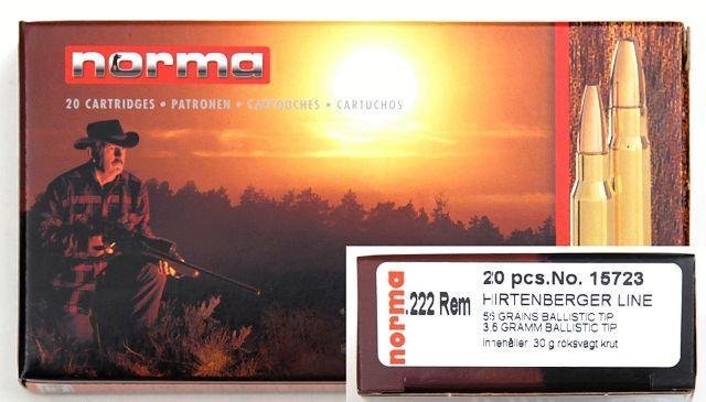 NÁBOJ/NORMA HP 222 REM Nosler Ball.Tip 3.6g/55 grs.