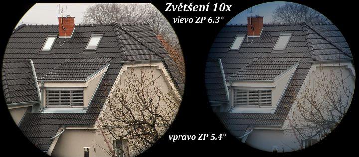 Srovnání zorných polí binokuláru